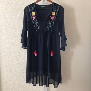 Boho Chiffon Dress High Low Floral Embroidery NWT